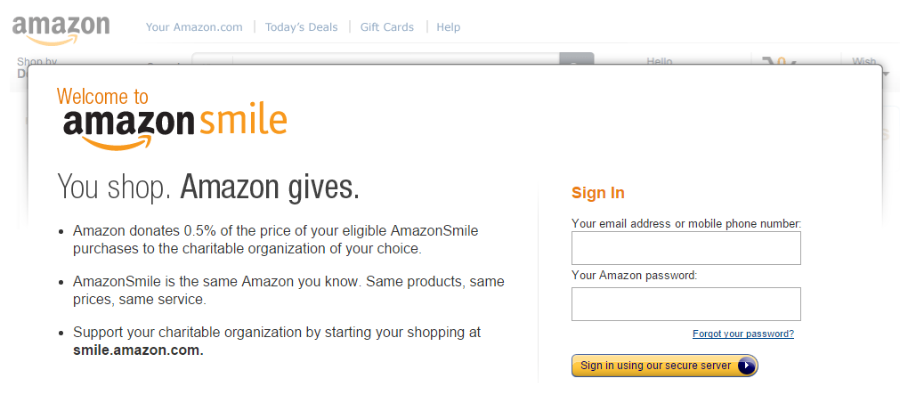 AmazonSmile - intro screen