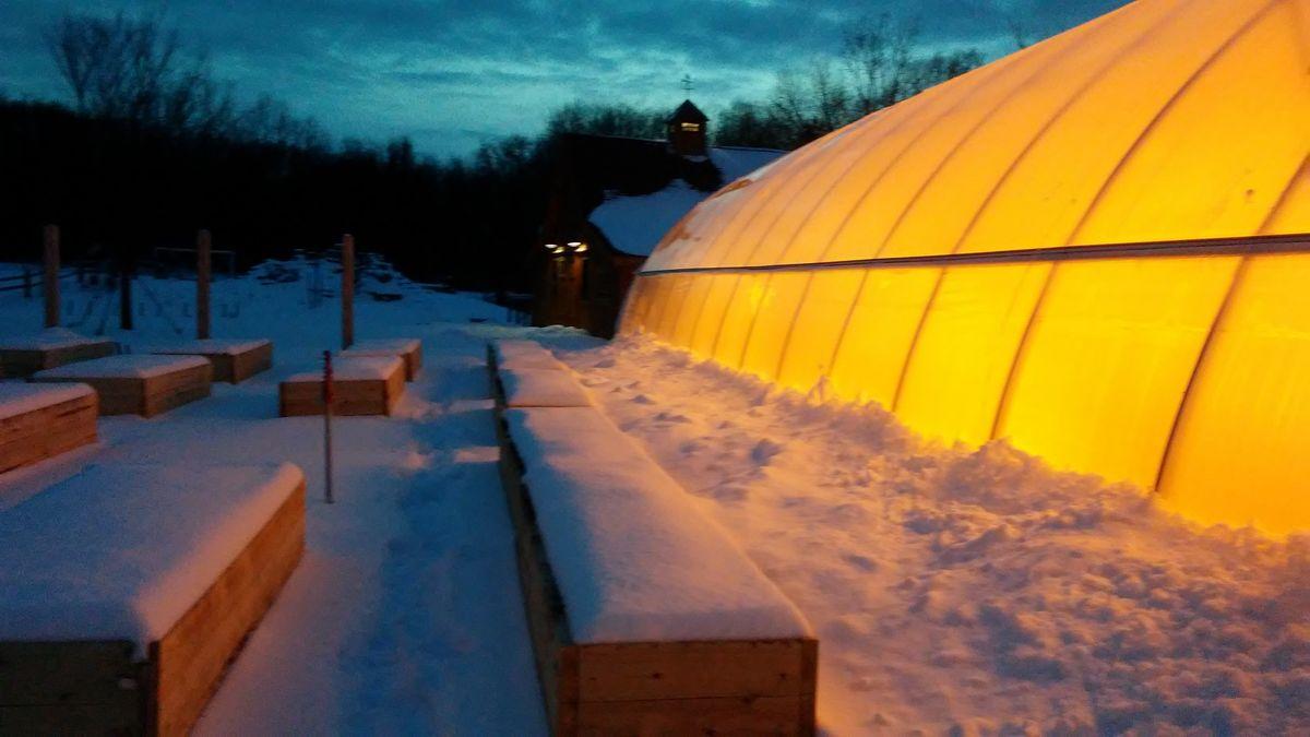 Glowing hoop house -winter