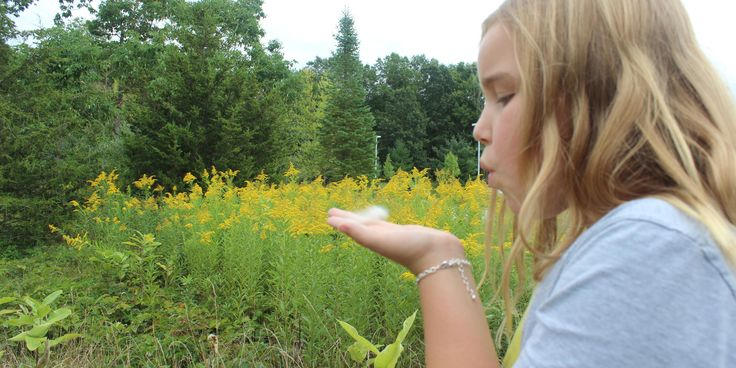 outside -campus -girl -blowing seeds