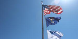 outside -flags -blue sky