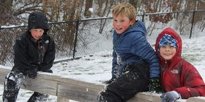 outside -boys -snow -fence