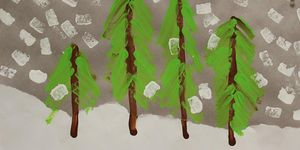 elementary -art -trees and snow