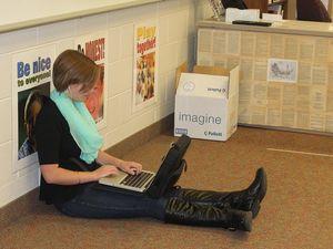 middle school -laptop -floor