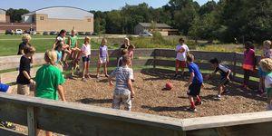 5th graders at the jo-ball/ga-ga ball court