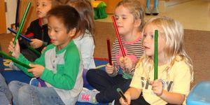 Kindergarten -drumming with sticks