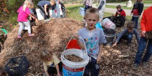 kindergarten -moving wood chips